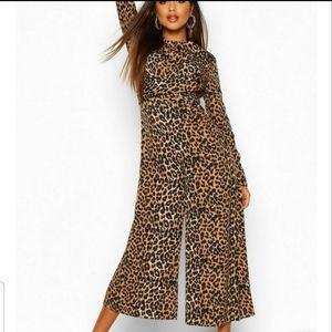 🆕️boohoo leopard knot front culotte jumpsuit